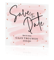 save the date met roze confetti