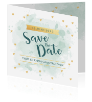 save the date goud-look hartjes